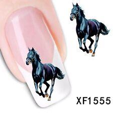 Nail Art Black Horse Water Transfer Fingernail / Toenail Decal Stickers
