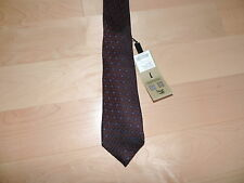 BURBERRY LONDON Dark Red Burgundy Blue Narrow skinny silk tie MANSTON