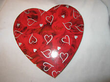 Fannie May Fine Chocolates Red Heart Shaped Candy Box Rose Silver Heart Accents