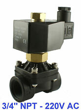 3/4 Inch Normally Open Plastic Electric Air Gas Water Solenoid Valve 220/240V AC