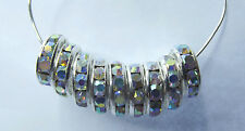 Rhinestone Rondelle Spacer Beads. Silver & Clear AB. 6mm. Approx. 100 Pieces