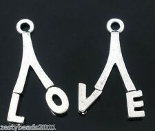 5 x Sets Tibetan Silver Tone LOVE Charms, LO & VE Pendants, 21mm x 12mm