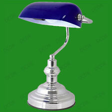"15"" Advocate Bankers Desk Lamp, Blue Glass Shade & Chrome, Damaged Packaging"