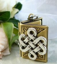 The Infinite Celtic Knot Book Locket Charm Pendant NECKLACE Eternity Infinity