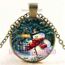 Vintage Christmas Snowman Cabochon Glass Bronze Chain Pendant Necklace
