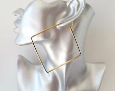 Stunning large plain gold tone square shape hoop earrings - NEW - 9cm - 3.5""