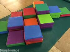 New 14 piece soft play blocks in bag 12 x 12 different heights mixed colours
