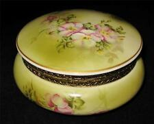 Hand Painted Nippon (Repro) WILDFLOWER Hinged Round Covered Bowl Bathroom Vanity