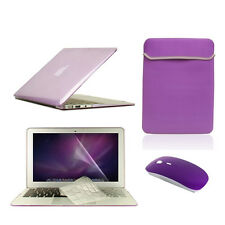 """5 in1 Crystal PURPLE Case for Macbook Air 11"""" + Key Cover +LCD Screen+ Bag+Mouse"""