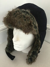 BARBOUR DEPT (B) NAVY BLUE WOOL BLEND FAUX FUR HUNTER/TRAPPER HAT BNWT SIZE M