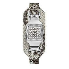 NIB GUESS WOMEN'S Pyramid Cuff Leather band Watch Silver Tone U0225L1