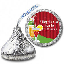 Holiday Cocktails - Personalized Christmas Hershey Kiss Stickers-108 Stickers