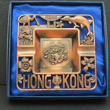 Copper Color Metal Hong Kong Ashtray Dragons Dolphins Flowers Birds Palm Trees