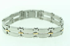 NEW! RCI Stainless Steel & 18K Yellow Gold 14mm Bracelet 7.5""