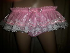 Sissy Adult Baby Pink Pearlescent Ribbon N Lace Frilled Panties