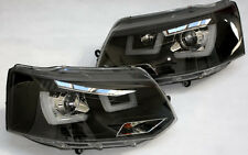 Black clear finish headlights with Daytime LED DRL U BAR for VW Transporter T5