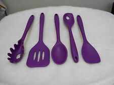 Purple Silicone Kitchen Utensils - 5 piece - Pre-owned (please read)