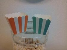 "10 mini MINT STRIPED Popcorn 3"" Box Candy Buffet Wedding Birthday Party Favor"