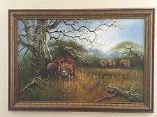 Beautiful African Safari Signed Carlton Oil Painting w/ Lion & Rhinoceros