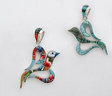 MULTICOLOR TURQUOISE SPINY LAPIZ ONYX OPAL INLAY .925 SILVER HEART BIRD PENDANT