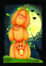NEW LARGE TOLAND HALLOWEEN FLAG STACK O' LANTERNS PUMPKINS 28 x 40 SO CUTE!
