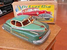 YONEZAWA DELUXE CROWN CAR TIN LITHO FRICTION TOY WORKS! ORIGINAL BOX JAPAN