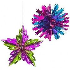 Foil Snowflakes Stars Hanging Ceiling Decoration Festive Christmas Xmas Garlands