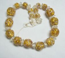 Amazing Vintage Venetian Gold FOIL Glass Beads for Necklace