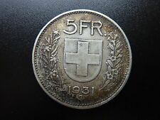 1931 Switzerland 5 Franken/Franc Large Silver Coin