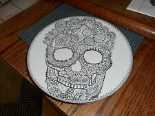 "New  222 FIFTH Wiccan Skull Lace Halloween 8 1/2"" Plate"
