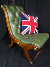 Vintage Chesterfield Style Handmade Green Leather Small Slipper Ladies Armchair