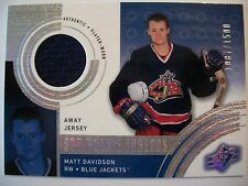 00-01 SPX Rookie Threads #138 MATT DAVIDSON AWAY Jersey BLUE JACKETS  BOX # 52
