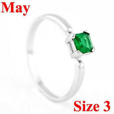 STERLING SILVER MAY BIRTHSTONE CZ CHILD RING SZ 3