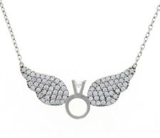 925 Sterling Silver Wing Ring Necklace