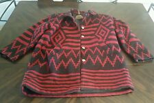 Womens Large Woolrich Wool Coat Jacket John Rich  And Bros Aztec Southwest