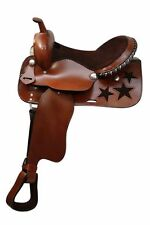 "16"" Economy style western saddle with suede leather seat and cut out stars."