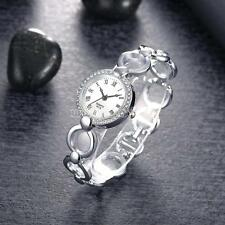 Luxury Women Lady Silver Color Rhinestone Quartz Stainless Steel Wrist Watch