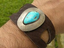 Vintage Sterling silver Indian Navajo Turquoise cuff bracelet Bison leather