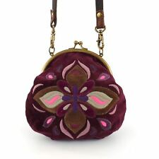 LUCKY Brand Purple Velour Small Cross-body Kisslock Pouch Purse Floral Bag