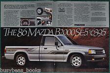 1986 MAZDA B2000 2-page advertisement, Mazda B2000 SE-5 pickup truck