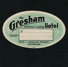 The Grasham Hotel BRISBANE QLD Australia * Old Luggage Label Kofferaufkleber