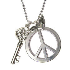 classic PEACE SIGN Key Cluster Silver Plated Pendant Charm Necklace