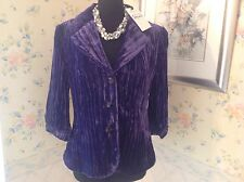M&S Per Una Speziale Purple Crushed Velvet Jacket Size 16 BNWT RRP £75.00