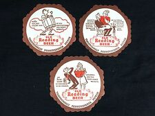 3 Old Reading Beer Coasters Pennsylvania Dutch New Old Stock