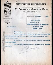 """CHAUVIGNY (86) USINE FAIENCERIE PORCELAINE """"PILLIVUYT / F. DESHOULIERES"""" en 1949"""