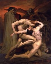 Dante and Virgil in Hell  by William Bouguereau   Giclee Canvas Print Repro