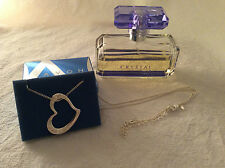 RARE!! AVON 'Crystal Aura' Perfume (tester) & Pave Heart Necklace - NEW IN BOX!