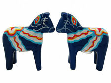 Blue Swedish Dala Horse Salt and Pepper Shakers New