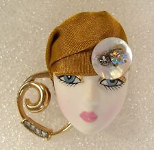 LADY woman HEAD FACE Porcelain-Look Resin pin brooch Rhinestones RS Glitzy OOAK
