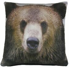 "FILLED BROWN GRIZZLY BEAR VELVET PILLOW CUSHION 17"" - 43CM"